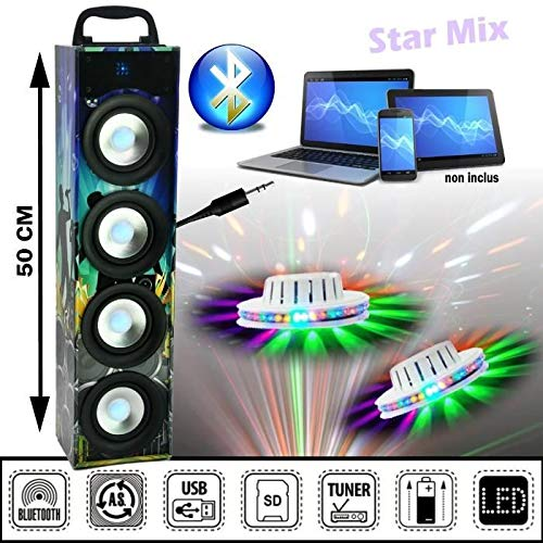 puissant Colonne Sound Tower 40W Bluetooth + USB + SD + Tuner + 2 Light Games 100% LED PADJ Sono…