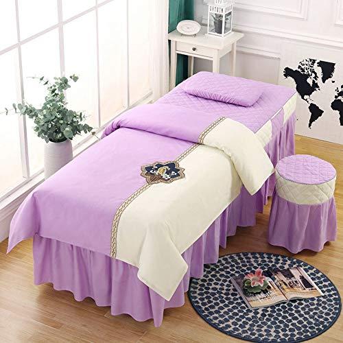 Massagebettbezug,Bezug für Massageliege mit Gesichtsloch,4-teilig Massage Tisch...