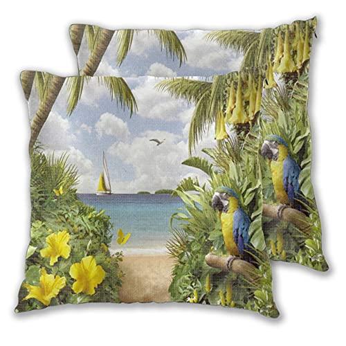 GUVICINIR Juego de 2 Fundas de cojín,Loros de Playa en Las Islas de la Selva Tropical en el mar,Decorativa Cuadrado Suave Funda de Almohada Sofá Sillas Cama Decoración para Hogar,45x45cm