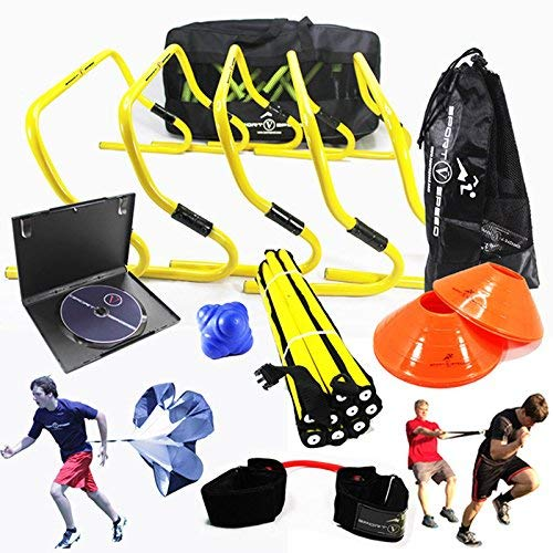 FOOTBALL TEAM SPEED AGILITY & QUICKNESS Training Kit with English Instructional DVD, Free Carry Bag, Hurdles, Speed Ladder, Power Resistor | Football, Soccer, Basketball, Volleyball, Rugby, Hockey