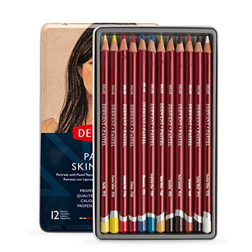 Lápis de Cor Pastel Tons de Pele 12 Cores Estojo Lata Derwent, 2300563