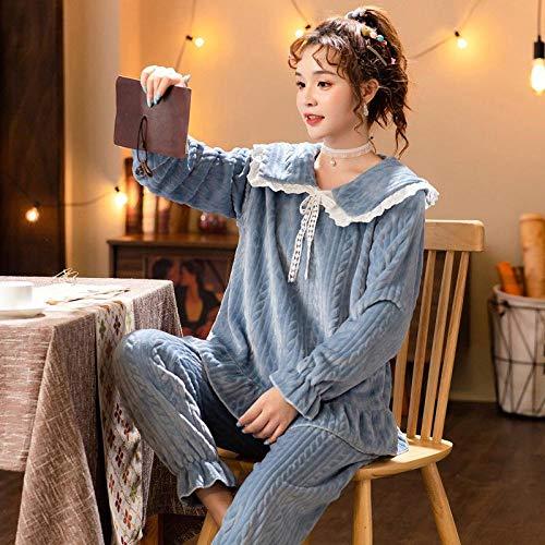 Empty Warm Winter Pyjama für Frauen Flanell Pyjamas Set Damen Nachtwäsche Spitze Rundhals Pyjama Dicke Nachtwäsche-M_40-50KG