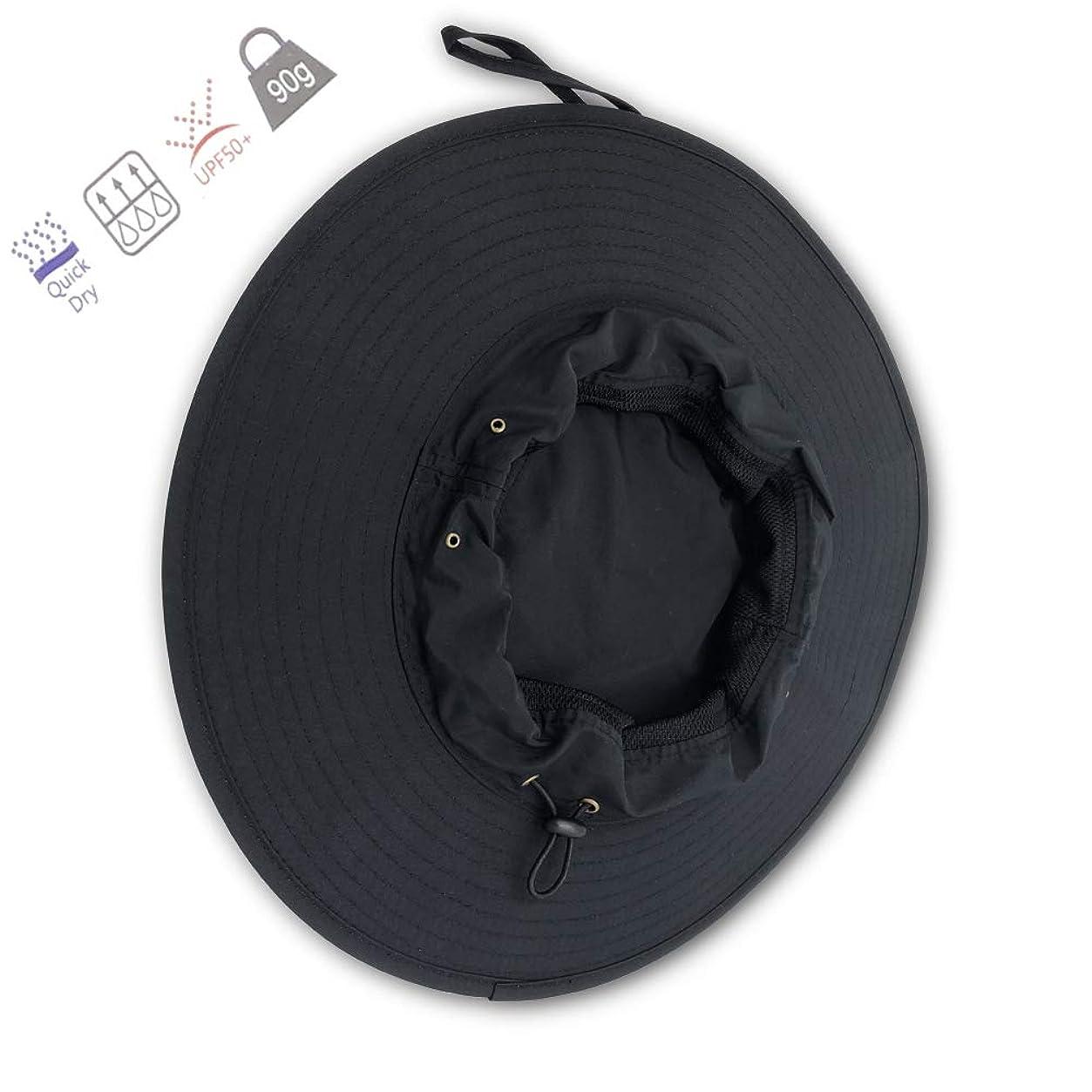 苦難腫瘍打ち負かすYITUAL - バケツ型帽子 紐付き ブラックサンハット メンズ/レディース 夏 アウトドア 幅広つば 日焼け防止 防水 通気性 釣り用帽子