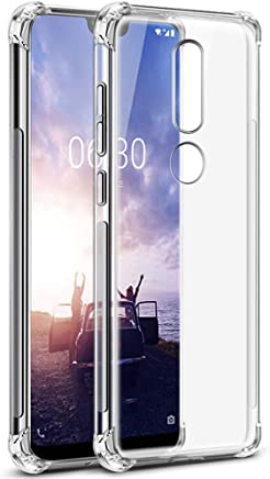 TheGiftKart Flexible Shockproof Crystal Clear TPU Back Cover Case with Cushioned Edges for Ultimate Protection for Nokia 6.1 Plus (Transparent)