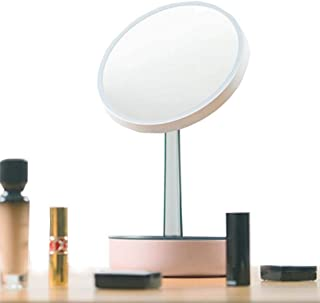 Makeup Vanity Mirror with LED Light, Professional Mirror with Touch-Screen Light Control Rotation Adjustable Brightness, 3X Magnifying Included,Portable Vanity Mirror with Lights 5CD1