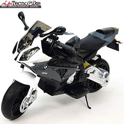 Tecnobike Shop Moto Elettrica per Bambini BMW S1000 RR 12V con Chiave Accensione Doppia velocità 2 Motori Ruote Eva Rotelle Licenza Sedile in Pelle Ufficiale BMW (Grigio)