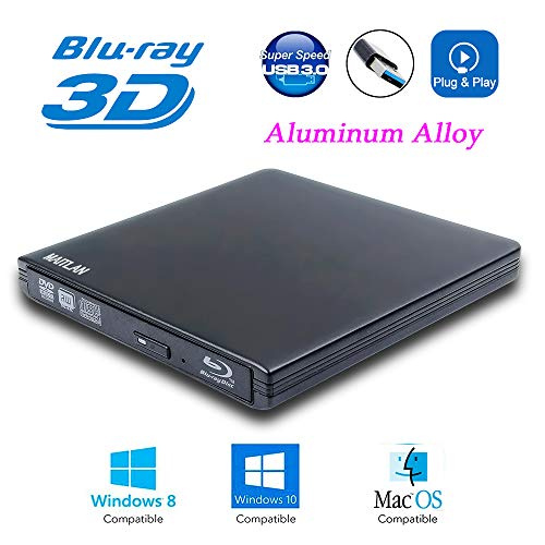 USB 3.0 External 6X Blu-Ray Burner 3-D Blue-ray Portable DVD Player for Acer Predator Helios 300 Elios 300 500 XB271HU XB241H XB272 XB273K 15 2019 Gaming Laptop PC, BD-RE DVD-R DL Writer Optical Drive