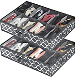 Under Bed Shoe Storage Organizer for Closet (2 Pack Fits 24 Pairs), Underbed Shoes Storage Solution with Clear Cover, for Sneakers, Clothes, Great Space Saver (Gray Lantern Pattern)
