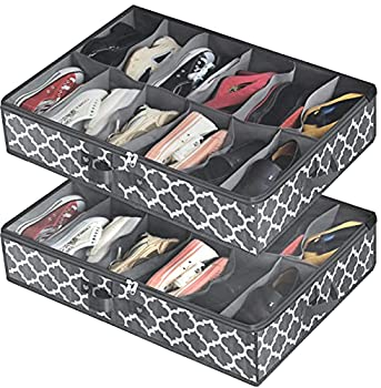 Under Bed Shoe Storage Organizer for Closet  2 Pack Fits 24 Pairs  Underbed Shoes Storage Solution with Clear Cover for Sneakers Clothes Great Space Saver  Gray Lantern Pattern