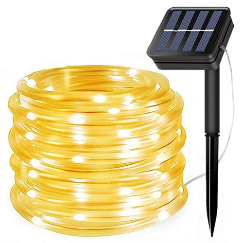 Guirnalda de luces solares para exteriores, 100 luces LED solares al aire libre, impermeable, 8 modos, alambre de cobre, luces de PVC, cadena de luces para jardín, valla, fiesta, decoración de boda