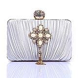 Damen Handtasche damentaschen Schultertasche Messenger-Bags Satinfalten Handtaschen Perlmuttkette Quaste Hochzeitsempfang Clutch -