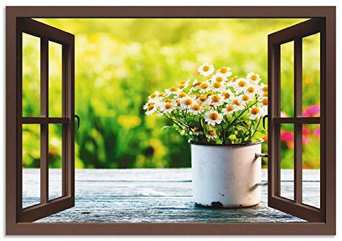 Artland Wandbild Alu für Innen & Outdoor Metall Bild 70x50 cm Fensterblick Fenster Botanik Blumen Gänseblümchen Garten Frühling T4UF