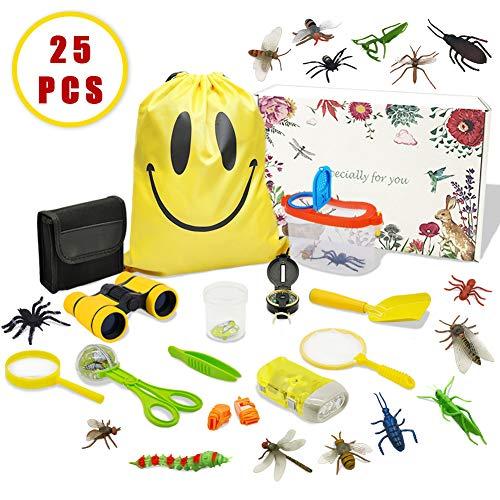 MIMIEYES Outdoor Explorer Kit für Kinder - 25 Pack Adventurer Geschenkset mit Fernglas, Lupe, Kompass, Taschenlampe, Pfeife, Lupen-Cup, Kordelzug, Schmetterlingsnetz, Insektensammler, Schaufel