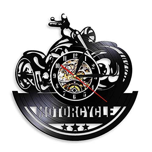 Reloj de Pared de Arte de Pared de Motocicleta Clásica,Letrero de Garaje Reloj de Disco de Vinilo Vintage para Motocicleta Decoración de Cueva para Hombre Regalo de Motociclistas