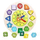 rompecabezas para niños Forma de madera para la Educación adapta a esta forma de reloj geométrica Blocks regalos Partido bebé juego juguete