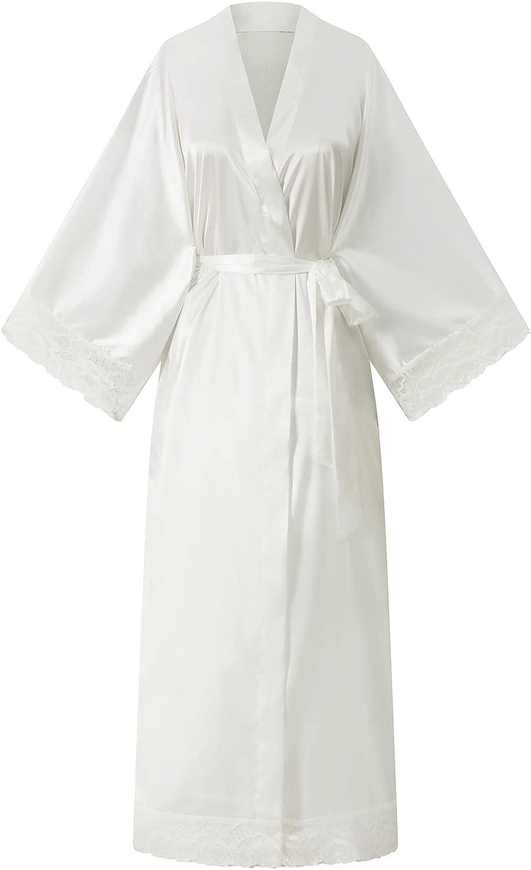 Lace Max 54% OFF Kimono Robe Very popular for Women Silk bridesmaid Rob Satin Long
