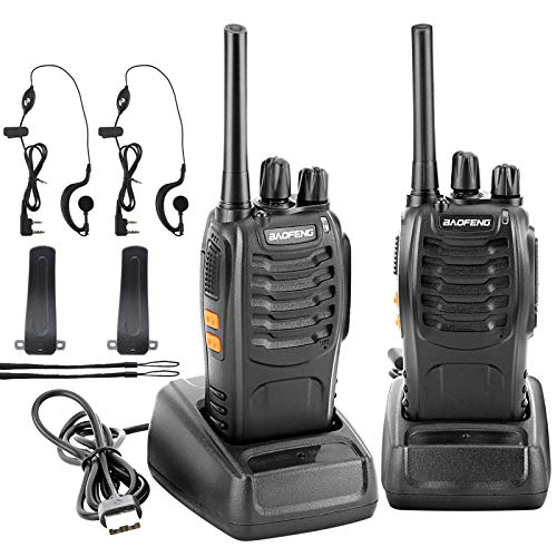 Pofung BaoFeng BF-88A FRS Two Way Radio 16-Channel Rechargeable Walkie Talkie Two Way Radio with Earpiece (Black)