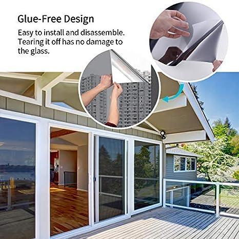 Privacidad Autoadhesivo Laminas para Oficina Solar Privacidad de Espejo Pel/ícula Adhesiva Anti 98/% UV Negro 45x 200cm Essort Vinilo para Ventana