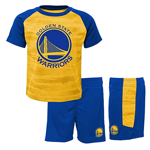 NBA Golden State Warriors-Shorts and T-Shirt Set Conjunto Ropa Deportiva, Azul (Blue/Yellow Bly), 1 año (Talla del Fabricante: 12 Meses) para Niños