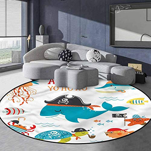 Kids Polyester Round Area Rug Easy to Clean Stain Fade Resistant Nautical Pirates Funny Design 5' in Diameter