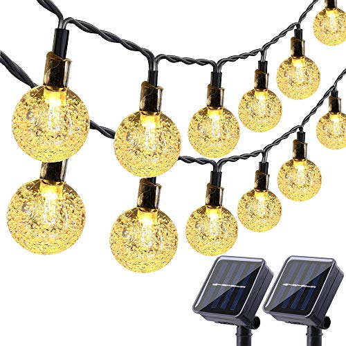 Lyhope Solar Outdoor String Lights, 20 ft 30 LED Crystal Ball Waterproof Solar Powered Globe Christmas Lights for Garden Patio Holiday Party Decorations (Warm White,2 Pack)