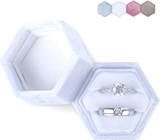 DesignSter Hexagon Velvet Ring Bearer Box - Premium Gorgeous Vintage Double Ring Display Holder with Detachable Lid for Proposal, Engagement, Wedding, Ceremony (White)