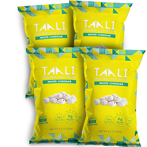 Taali White Cheddar Water Lily Pops (4-Pack) - Buttery Rich American Flavor   Protein-Rich Roasted Snack   Non GMO   2.3 oz Multi-Serve Bags