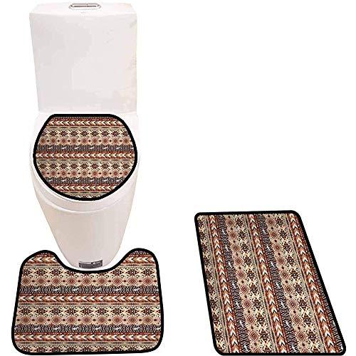 WEURIGEF Set di tappetini da Bagno in 3 Pezzi Tappeto da Bagno per WC con Profilo Antiscivolo Tribale Etnico Artsy