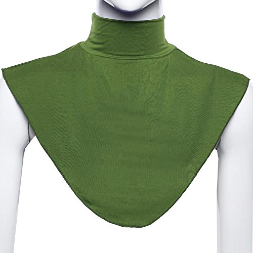Tetera para Mujer Musulmana Modal Cuello Falso Hijab Cuello Hombro Cubierta Neckwear Moda Verde Militar. S