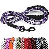 MayPaw Correa para perro de cuerda resistente, correa de nailon para mascotas de 6/8/10 pies, asa acolchada suave y gruesa correa de plomo para perros grandes y medianos pequeños cachorros