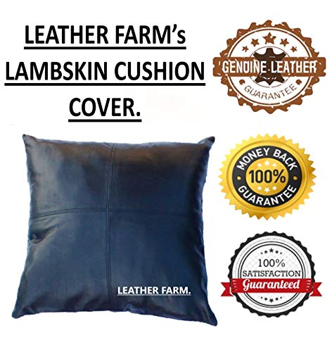 Find Discount Thick Genuine Black Leather Pillow Cover Decorative for Couch Throw Pillow Case Black ...