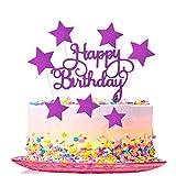 16 Pièces Happy Birthday Gâteau Toppers,Étoiles Gâteau Topper, Joyeux Anniversaire Cake Cupcake Topper, pour Décoration de Fête d'anniversaire (Violet)