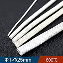 NAHASU Cable Sleeves | 1mm 2mm 3mm Diameter 600 Deg High Temperature Braided Soft Chemical Fiber Tubing Insulation Cable Sleeving Fiberglass Tube