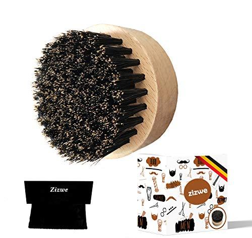 Bartbürste Wildschweinborsten, tägliche Bartpflege für Männer - Ideal für Bartöl & Bartwachs, Rundes Design