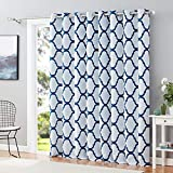 Melodieux Moroccan Wide Curtains Room Darkening Blackout Drape for Extra Wide Window, Patio Sliding Glass Door, 1 Panel (100 x 84 Inch, Off White/Navy)