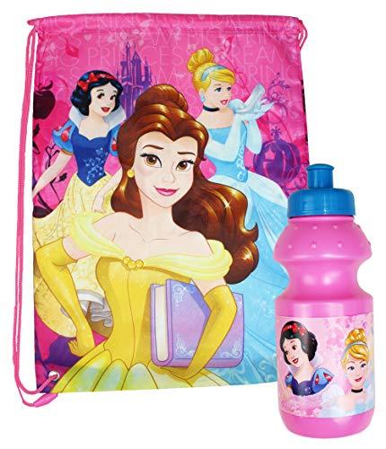 Disney Princess Pink School Drawstring Swimming PE Bag and Water Bottle