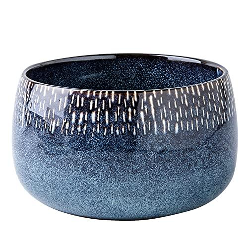 YLMF Cuenco de cerámica Redondo Profundo de 6 Pulgadas, Fruta, Ensalada, Resistente y apilable, fácil de Limpiar y almacenar, Cuenco de Sopa, Apto para lavavajillas y microondas, Azul Vintage (12,5