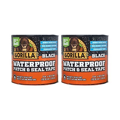 Gorilla Waterproof Patch & Seal Tape 4' x 10' Black, (Pack of 2)