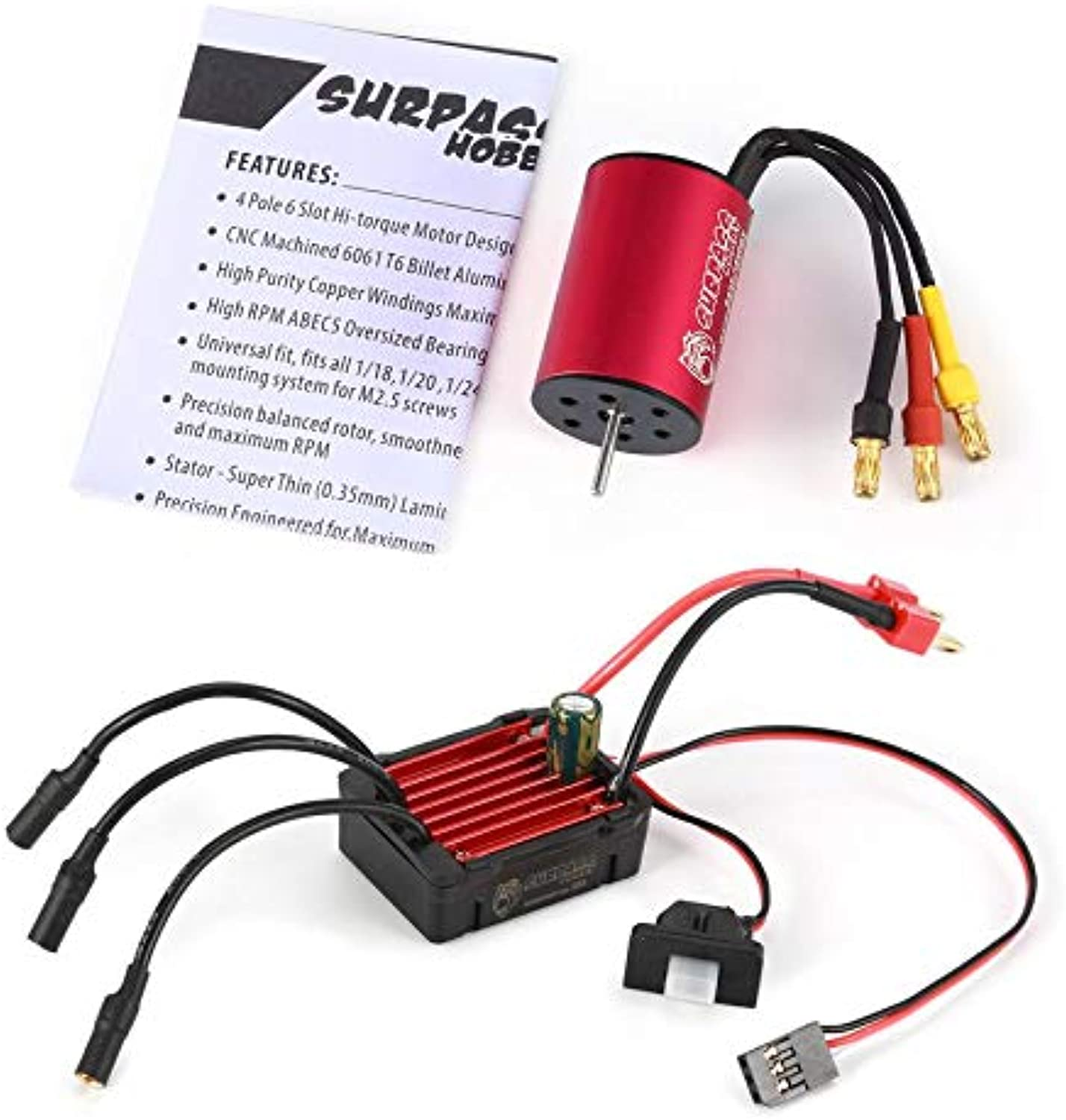 SURPASSHOBBY KK 2435 4500KV Brushless Motor with 25A Waterproof Speed Controler ESC for 2S 1 16 RC Racing Car Model