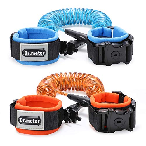 Anti Lost Wrist Link [2 Pack], Dr.Meter Toddler Safety Leash with Key Lock, Reflective Child Walking Harness Rope Leash for Kids/Babies, 2.5M / 8.2ft Blue + 1.5M / 4.92ft Orange