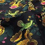 Elegante tessuto jacquard, motivo floreale, in broccato, tessuto damascato, per abiti da cocktail, 165 cm di larghezza (nero)