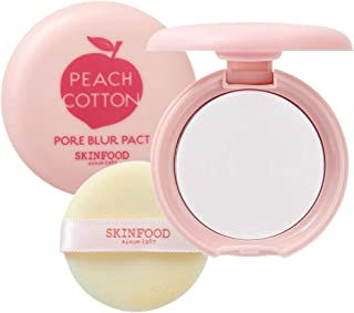 SKINFOOD Peach Cotton Blur Pact 4g - Sebum Control Pack with Silky Texture, Long Lasting Makeup Fixing, Pore Primer for Oily Skin