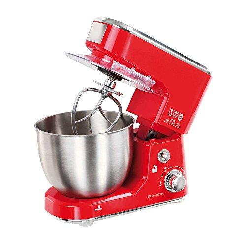 Küchenmaschine mit Edelstahl-Rührschüssel 5 Liter (Knetmaschine, Rührmaschine, Schneebesen, starke 1000 Watt, schwenkbarer Arm, Spritzschutzdeckel, rot)