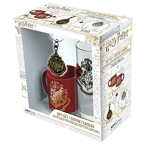 ABYstyle - Harry Potter - Coffret Cadeau - Poudlard - Verre + Porte-clés + Mini Mug