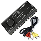4-Way AV Switcher 4 in 1 Out AV Audio Video Signal Selector S-Video Splitter Switch Box with RCA Cable for Connecting 4 Different Devices to 1 Monitor Compatible with HDTV LCD DVD STB Game Consoles
