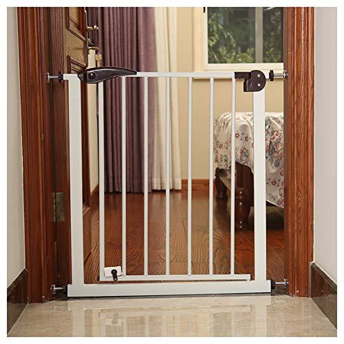 LICHUN Barrera De Seguridad Escalera Puerta for Niños Perros Interruptor De Dos Vías, Rebote Automático Reiniciar Proteccion, H 76CM (Color : H 76CM, Size : W 185-192CM)