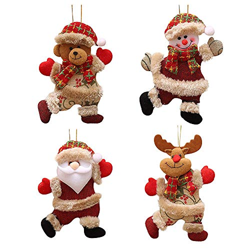 FJROnline - 4 colgantes de muñeca de Papá Noel para árbol de Navidad, muñeco de nieve, oso de alce con dibujos...