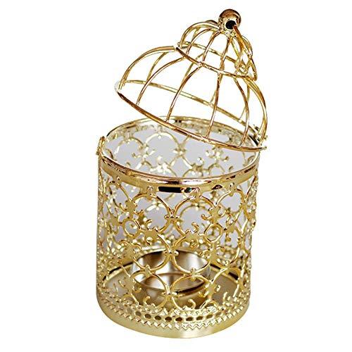 Portacandele in metallo a forma di gabbia per uccelli a forma di gabbia per uccelli, decorazione da tavolo per la casa di nozze, colore oro durevole e utile. Prestazioni elevate