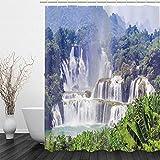 BLZQA Duschvorhang Badewannenvorhang Duschvorhänge Schimmelresistenter & Wasserabweisend Shower Curtain mit 12 Duschvorhangringen 150 x 180 cm (Wasserfalllandschaft)