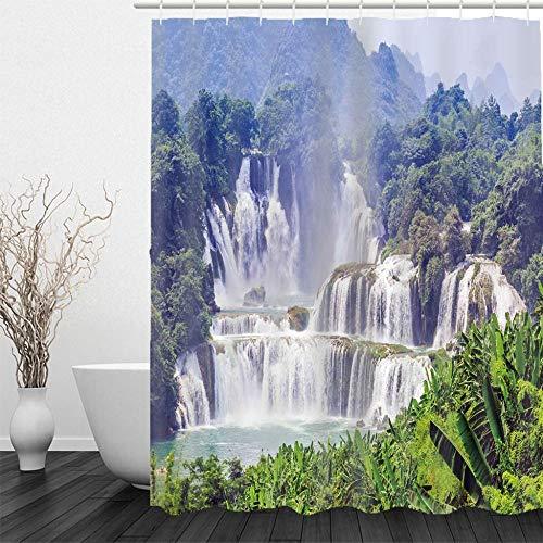 BLZQA Duschvorhang Badewannenvorhang Duschvorhänge Schimmelresistenter und Wasserabweisend Shower Curtain mit 12 Duschvorhangringen 150 x 180 cm (Wasserfalllandschaft)